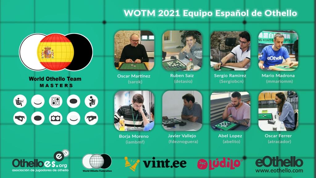 Imagen de fondo de un tablero, con iconos representativos de othello y las fotografías con nombres y nicks de los jugadores españoles.
